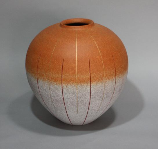 2008 吹泥金紅線文彩壷